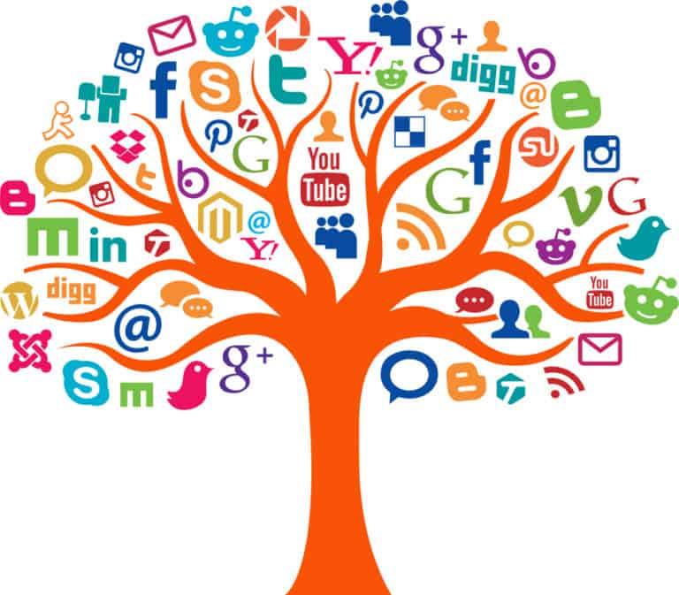 Social Media Plattformen als Blätter eines Baums dargestellt